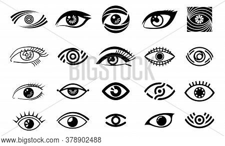 Vector Eye Illustration, Logo Set, Collection Of Different Style Eye, Vision Logotype In Black Color