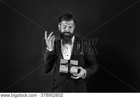 Moment Of Choosing Best Product. Bearded Man Hold Present Box. Businessman Shopping For Gift. Produc