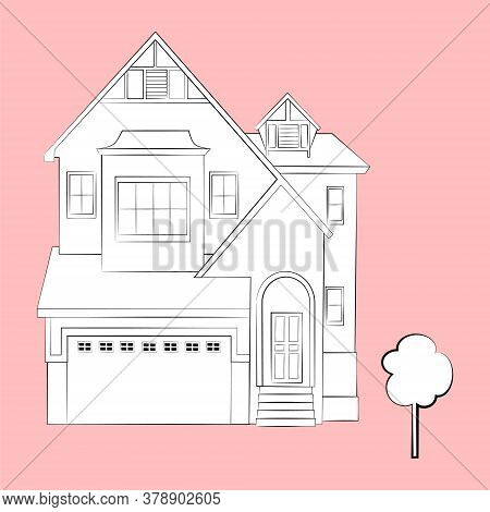 Linear Pencil Sketch Of The House. White Silhouette Of A Cottage-type House. Isolated. Vector