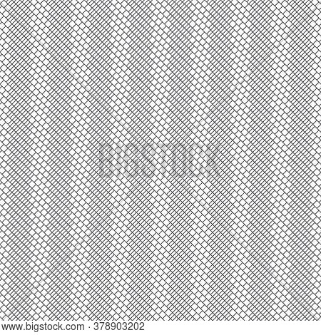Vector Seamless Pattern. Modern Simple Geometrical Texture With Small Outline Rhombuses And Diagonal