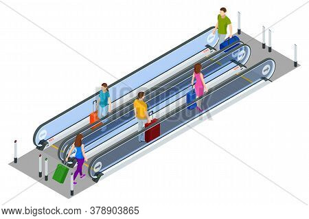 Isometric Escalator Isolated On White Background. People With Luggage Stand On The Escalator At The