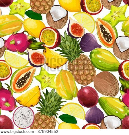 Seamless Pattern From Bright Tropical Fruits.lots Of Ripe Exotic Fruits In A Seamless Color Pattern.