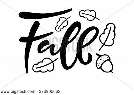 Fall Hand Written Lettering With Acorn And Oak Leaves On White Background. Vector Calligraphy Illust