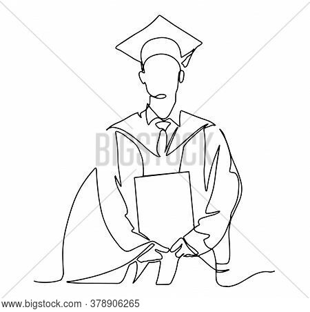 Continuous Line Art Or One Line Drawing Of Graduation Students Card Concept Congratulation Card , Li