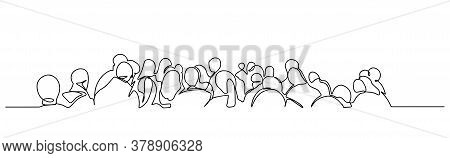 Continuous One Line Drawing Of Business People Standing In A Queue. Concept For Web Page, Banner, Pr