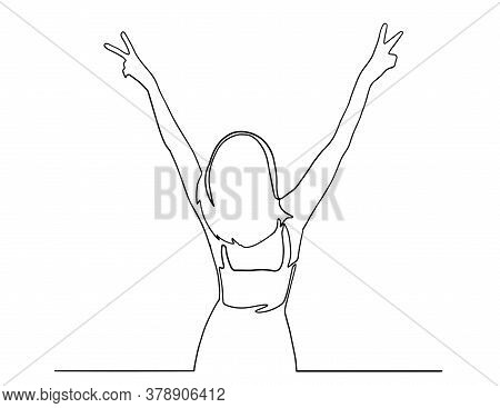 Happy Woman Standing And Making Peace Sign With Hands. Fingers In Peace Sign, Lettering Keep Calm An