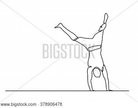 One Line Drawing Of A Man Standing On His Arms. Hand Standing Man. Person. Single Continuous Line Dr
