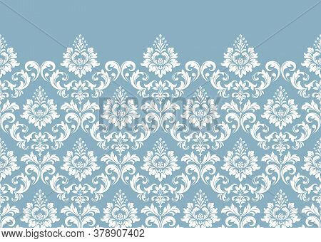Floral Pattern. Vintage Wallpaper In The Baroque Style. Modern Vector Background. White And Blue Orn