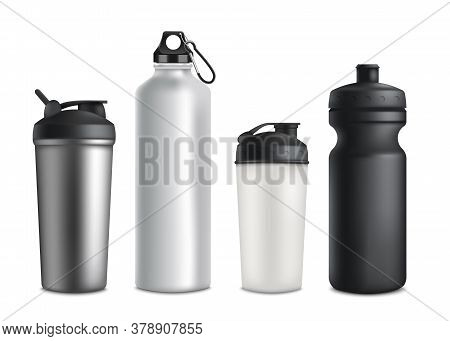 Sport Or Touristic Water Bottles And Cups 3d Vector Mockup Illustration Isolated.