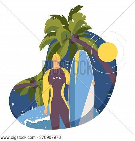 Surf Camp Vector Male Character With Surfboard Standing Near Palms And Big Wave. Flat Cartoon Man Sm