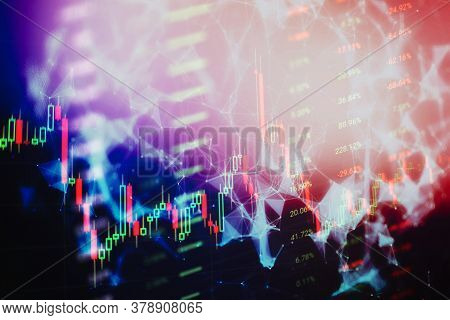 Fundamental And Technical Analysis Concept. Abstract Financial Trading Graphs On Monitor. Background