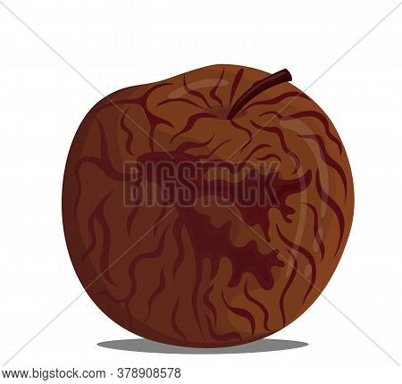 Vector Illustration Of A Drawing Of A Rotten Apple. Spoiled Apple