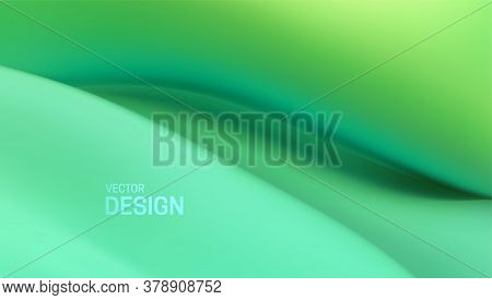 Wavy Green Background. Vector Abstract Illustration. Environmental Or Bio Concept. Organic Liquid Ba