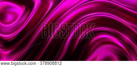 Purple Surface With Wavy Ripples. Vector 3d Illustration. Abstract Background. Fluid Neon Leak Backd