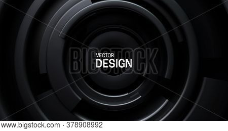 Black Radial Background. Abstract Background With Concentric Black Shapes. Vector 3d Illustration. F