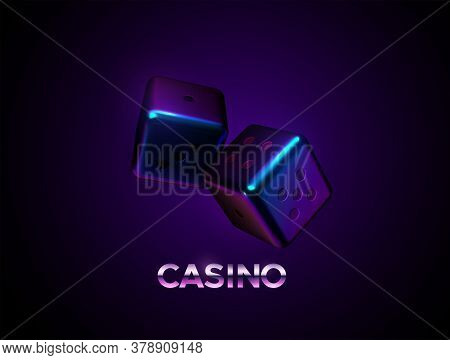 Neon Dices On Dark Background. Vector Realistic 3d Illustration. Casino Or Gambling Concept. Game Si