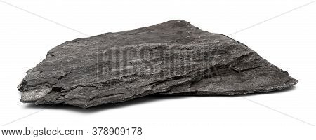 Stone From Limestone And Shale Isolated On White Background. Flat Stone Shale Closeup Front View.
