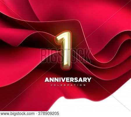 First Anniversary Celebration. Golden Number 1 On Red Flowing Textile Background. Vector Festive Ill