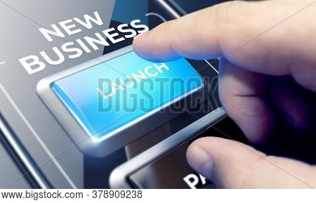 Man Using A New Business System By Pressing A Button On Futuristic Interface. New Business Concept.
