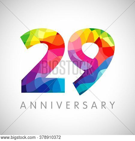 29th Anniversary Numbers. 29 Years Old Logotype. Bright Congrats. Isolated Abstract Graphic Design T