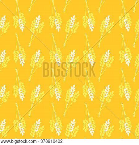 Seamless Pattern Crop Oat Wheat Barley Rye Plant. Stylized Autumn Nature Vector Pattern. Gold Yellow