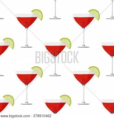 Cosmopolitan Cocktail Seamless Pattern. Alcohol Drink Background.