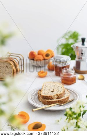 Beautifully Served Summer Breakfast With Toasted Bread And Homemade Apricot Jam