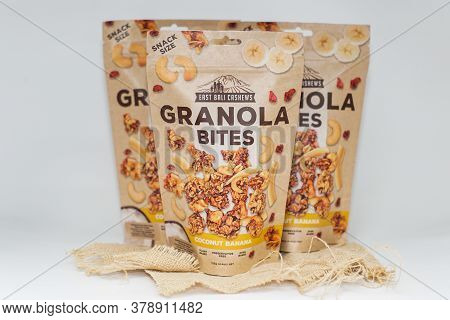 Bali/indonesia-july 17 2020: East Bali Cashews Granola Bites. Healthy Snack From Bali. Delicious And