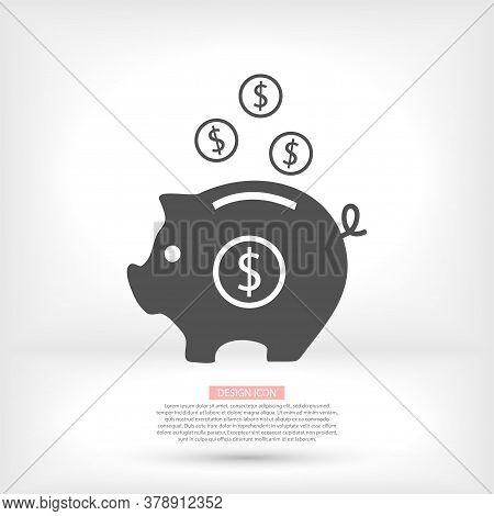 Coins Piggy Bank Outline Flat Vector Icon. Single High Quality Outline Logo Symbol For Web Design Or