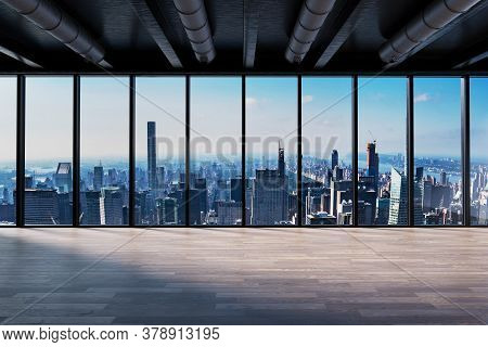 Large Office With Blank White Wall In Front Of Panoramic Window Skyline, 3d Illustration
