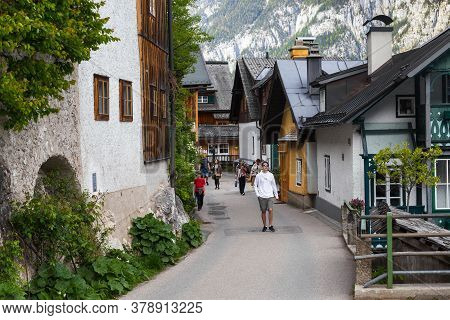 Hallstatt, Austria - May 18, 2019: This Is One Of The Narrow Pedestrian Streets Of A Famous Small Au