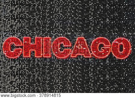 Chicago Neon Sign Decoration With Shinny Details