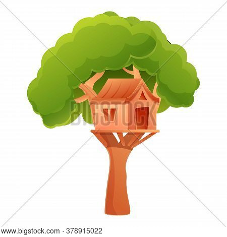 Outdoor Treehouse Icon. Cartoon Of Outdoor Treehouse Vector Icon For Web Design Isolated On White Ba