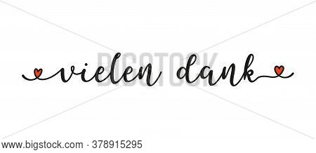 Hand Sketched Vielen Dank Word In German As Ad, Web Banner. Lettering