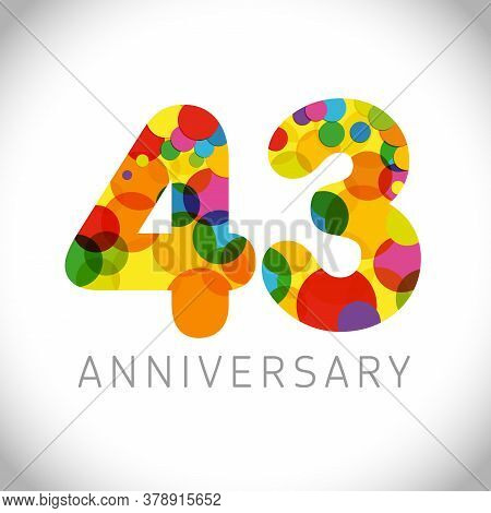 43 Rd Anniversary Numbers. 43 Years Old Multicolored Congrats. Cute Congratulation Concept. Isolated