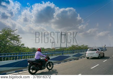 Kolkata, West Bengal, India - 23rd May 2020 : Blue Sky With White Clouds Over 2nd Hoogly Bridge, Con