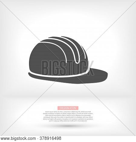 Job Safety Equipment Helmet Or Hat For Industrial Safety Black And White Icon Vector. Security For I
