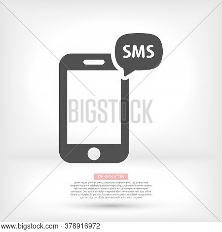 Message Vector Icon In Trendy Flat Style Isolated On Grey Background. Sms Symbol For Your Web Site D