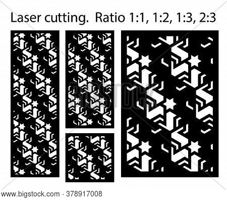 Laser Pattern. Set Of Decorative Vector Panels For Laser Cutting. Template For Interior Partition In