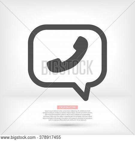Phone Vector Icon In Trendy Flat Style Isolated On Grey Background. Handset Vector Icon With Waves.