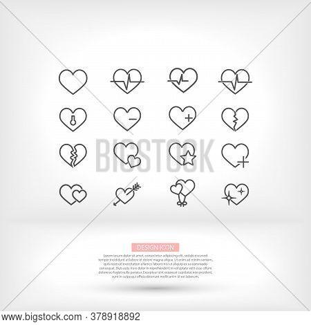 Heart Line Icon Vector Many Arrow Cardiogram Icons