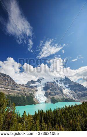 Beautiful Berg lake and Mount Robson in summer season, Canada