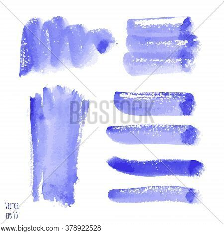 Vector Set Of Violet, Purple Watercolor Hand Painted Texture Backgrounds Isolated On White. Abstract