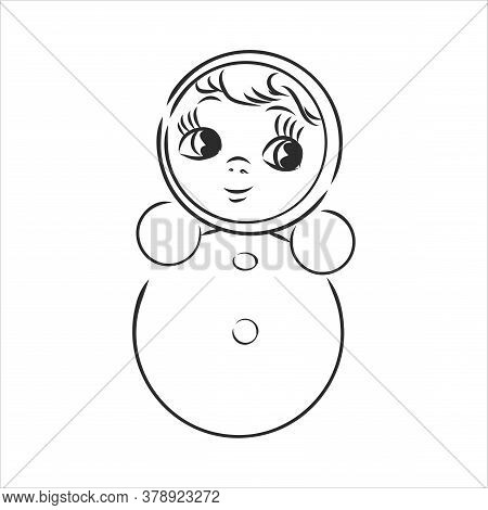 Vector Image Of Childrens Toys On A White Background - A Teddy Bunny, A Pyramid, A Cube And A Toy Ca