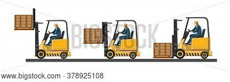 Forklift. Vector. Loading Boxes, Bricks, Stones, Barrels, Cardboard Packaging, Bags, Cement. Pallets