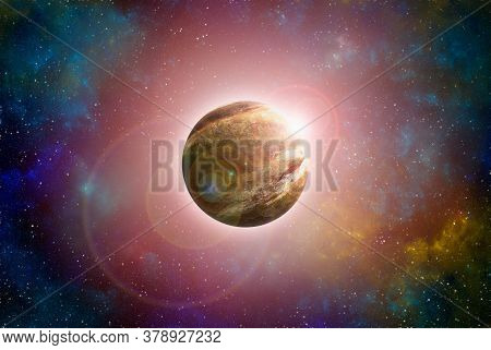 Unknown Planet From Outer Space. Space Nebula. Cosmic Cluster Of Stars. Space Background. 3d Illustr