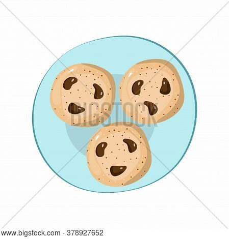 Plate With Cookies. American Oatmeal Cookies With Chocolate On Blue Dish, Hand Drawn Doodle Cartoon