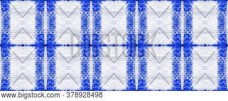 Tie Dye Pattern. Hand Drawn Shibori Print. Blue Ink Background. Modern Batik Tile. Indigo Geometric