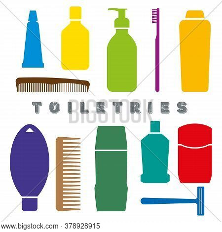 Colorful Toiletry Flat Icons. Personal Hygiene Vector Illustration