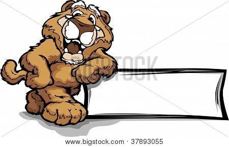 Graphic Vector Image Of A Happy Cute Cougar Or Mountian Lion Mascot Leaning On A Sign